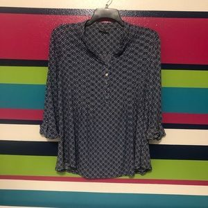 Blue, black and white patterned top